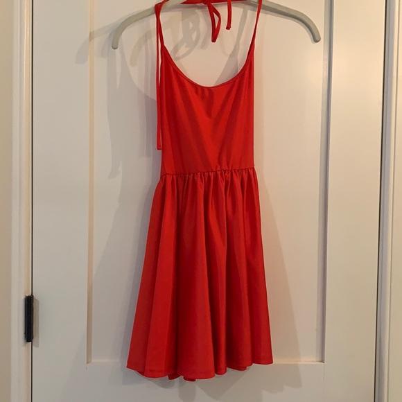 American Apparel Red Disco Halter Skater Dress